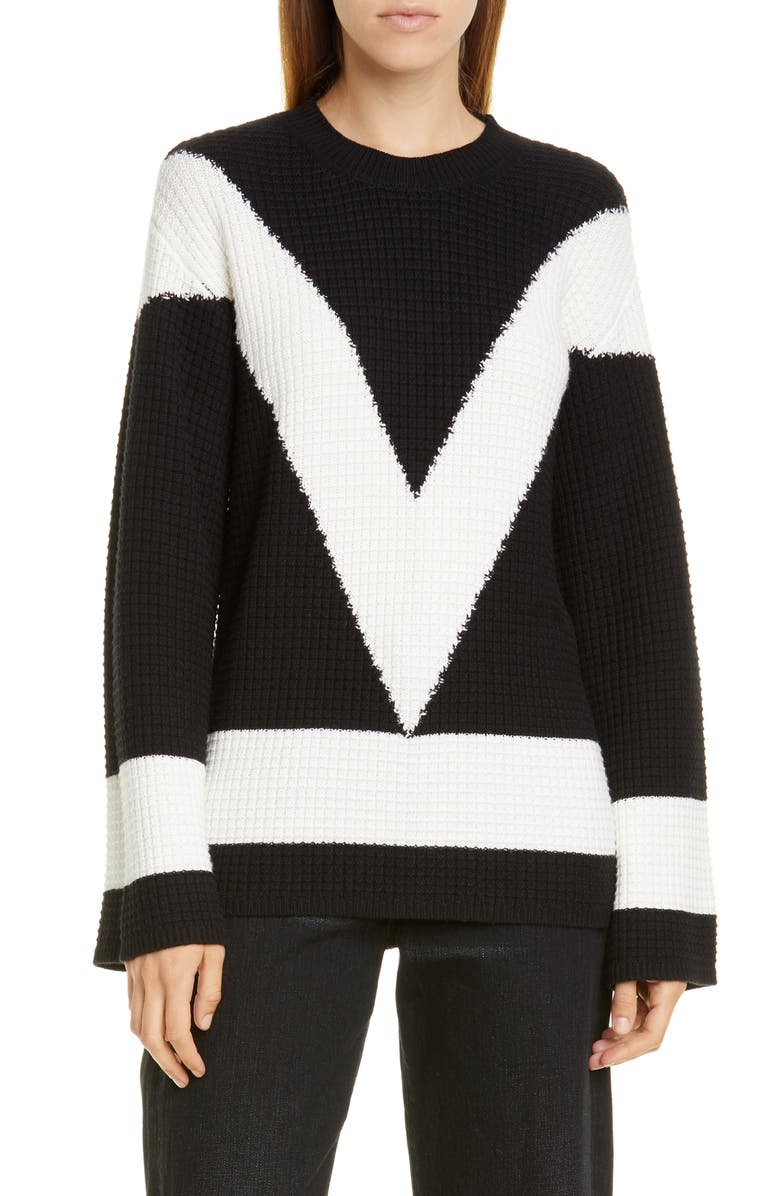 VICTOR GLEMAUD Cotton & Cashmere Crewneck Sweater, Main, color, BLACK AND WHITE