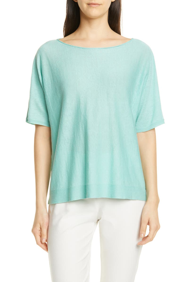 Eileen Fisher Bateau Neck Organic Linen Blend Top