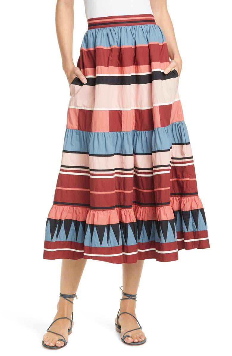 ULLA JOHNSON Simi Stripe Skirt, Main, color, ROSE
