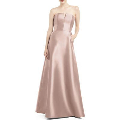 Alfred Sung Strapless Satin Twill Gown, Pink