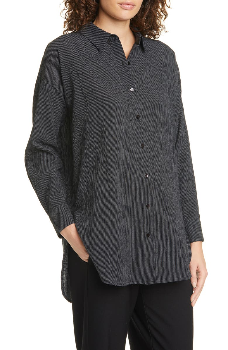 EILEEN FISHER Stripe Tencel<sup>®</sup> Lyocell & Organic Cotton Shirt, Main, color, BLACK
