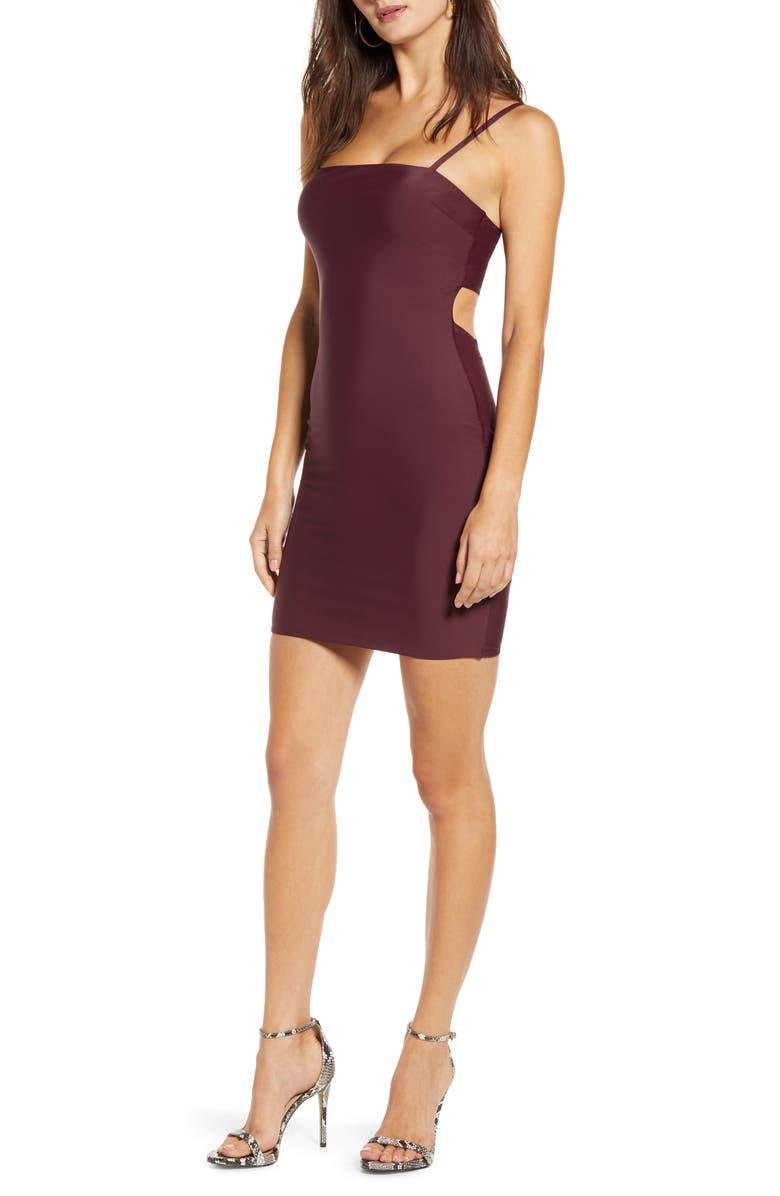 TIGER MIST Solange Open Back Body-Con Dress, Main, color, PLUM