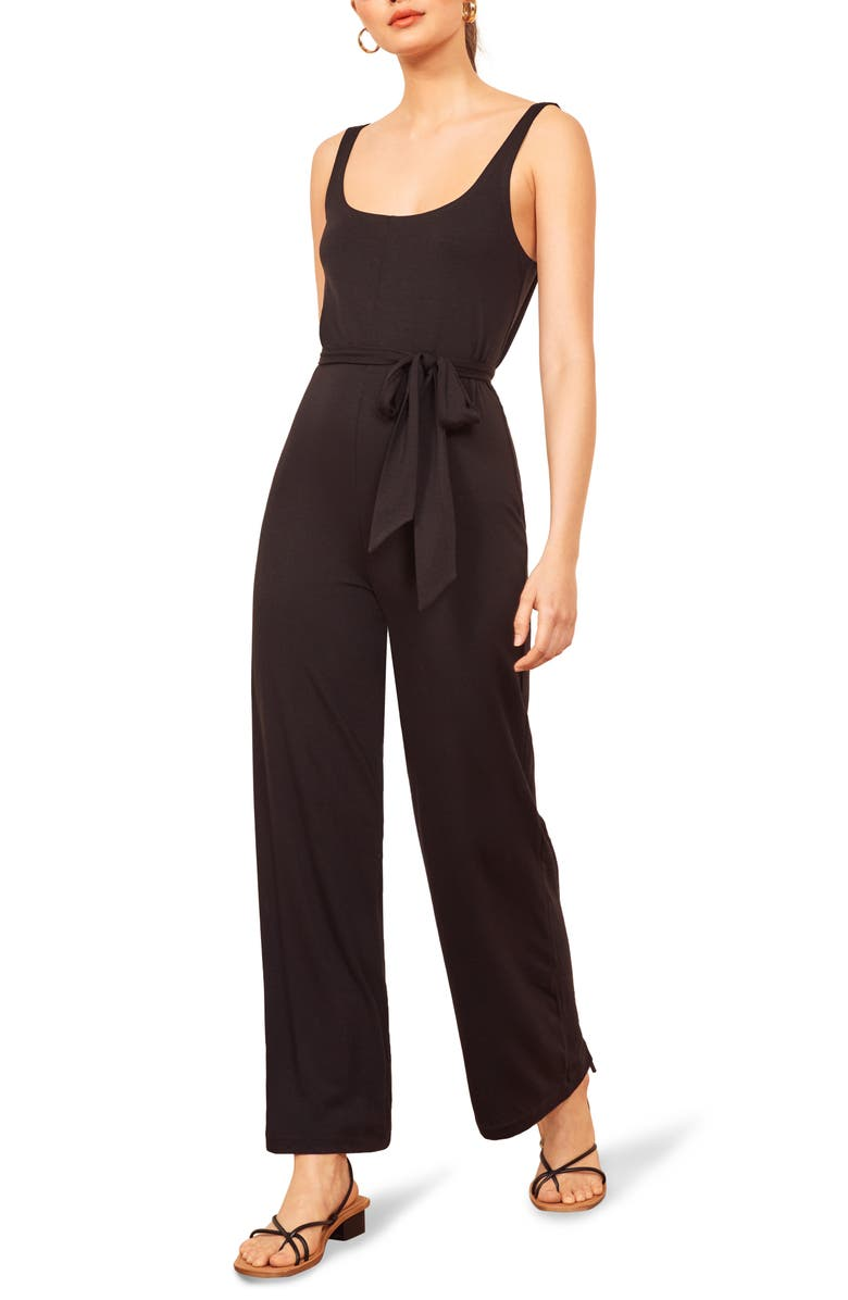 REFORMATION June Sleeveless Jumpsuit, Main, color, BLACK