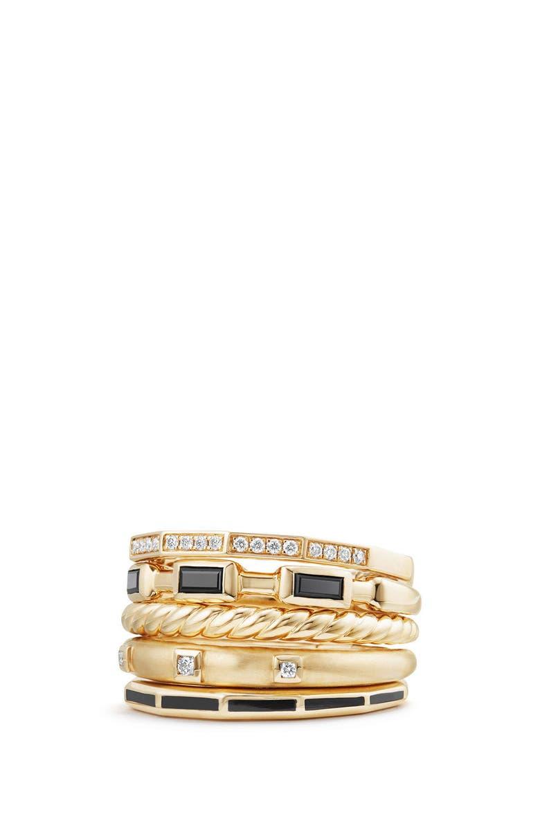 DAVID YURMAN Stax Ring with Black Spinel, Black Enamel & Diamond in 18K Gold, 13mm, Main, color, BLACK SPINEL