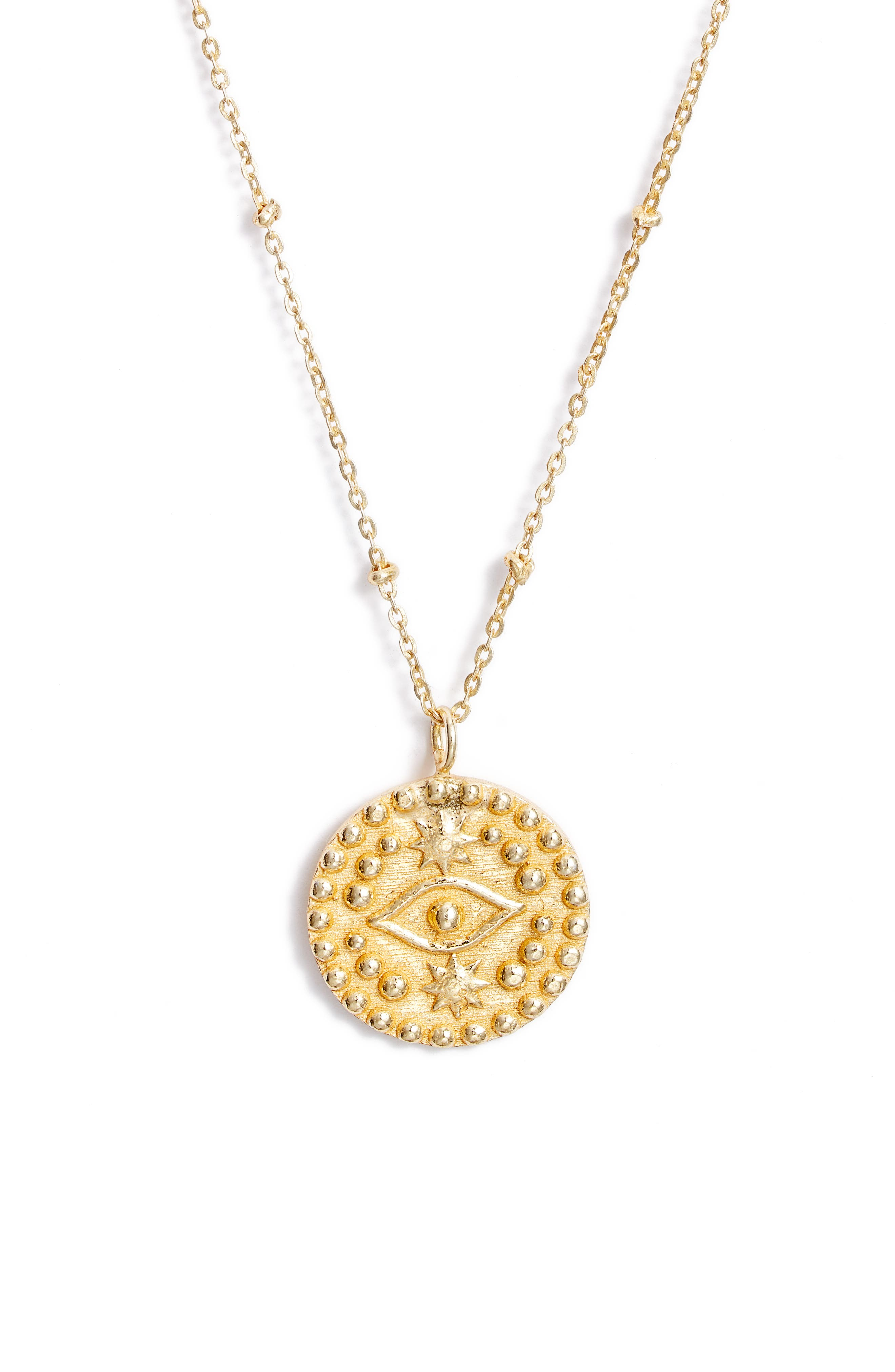 Collections by Joya Sterling Silver Evil Eye Pendant Necklace in Gold at Nordstrom