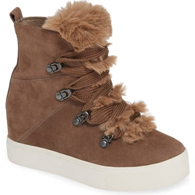 Jslides Whitney Faux Fur Trim High Top Sneaker- Beige