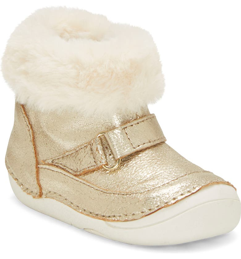 SOLE PLAY Metallic Faux Fur Bootie, Main, color, TOTES GOLD