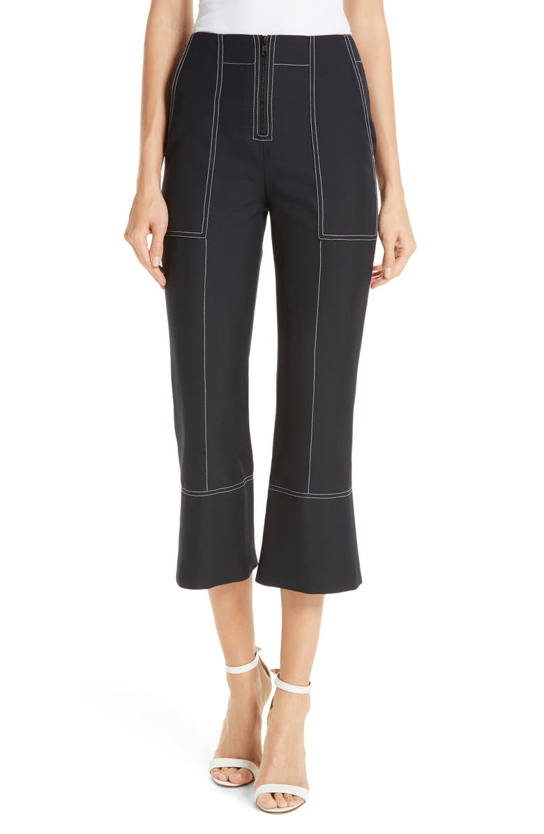 KENZO Contrast Stitch Crop Flare Pants, Main, color, 402