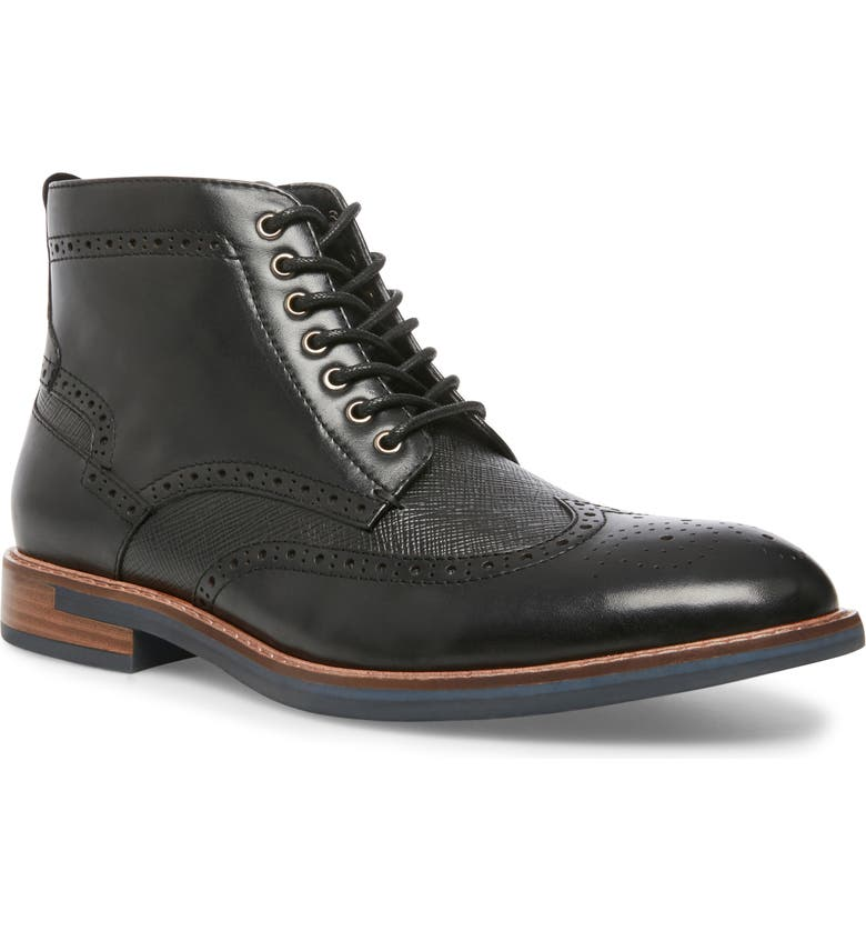 STEVE MADDEN Tributes Wingtip Boot, Main, color, BLACK LEATHER