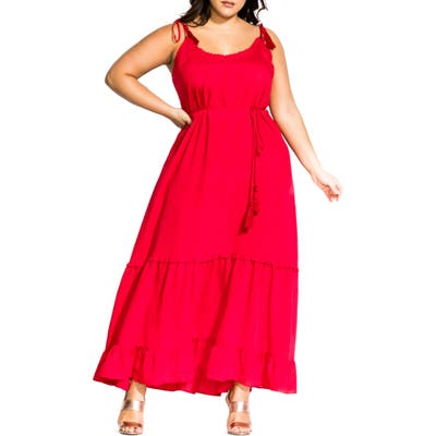 Plus Size City Chic Endless Summer Maxi Dress, Red