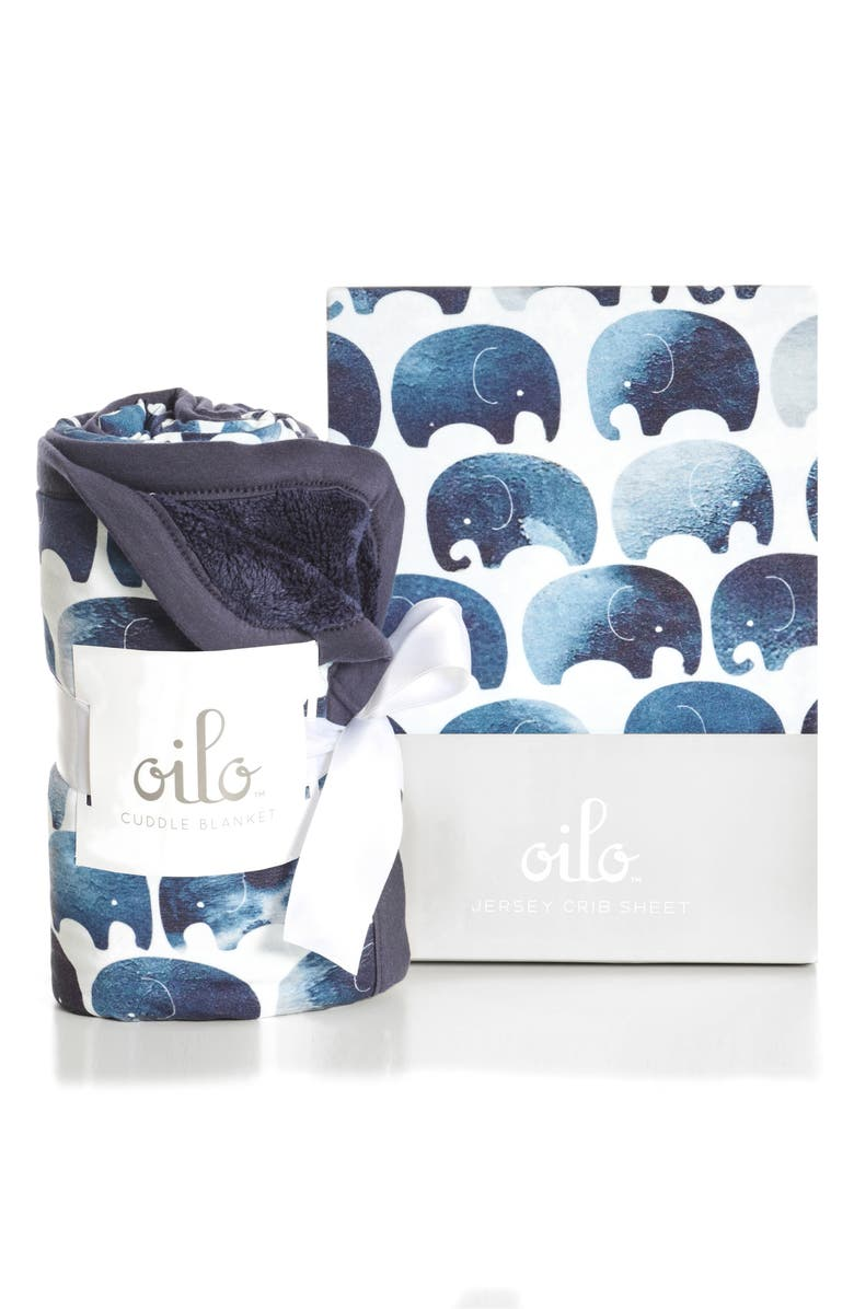 Oilo Elephant Crib Sheet Cuddle Blanket Set