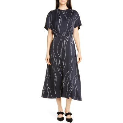 Equipment Chemelle Silk Blend Midi Dress, Blue