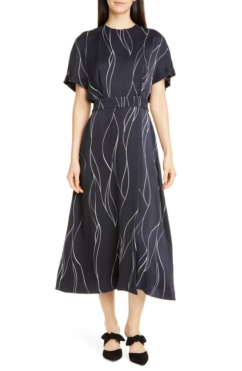 EQUIPMENT Chemelle Silk Blend Midi Dress, Main, color, ECLIPSE BRIGHT WHITE