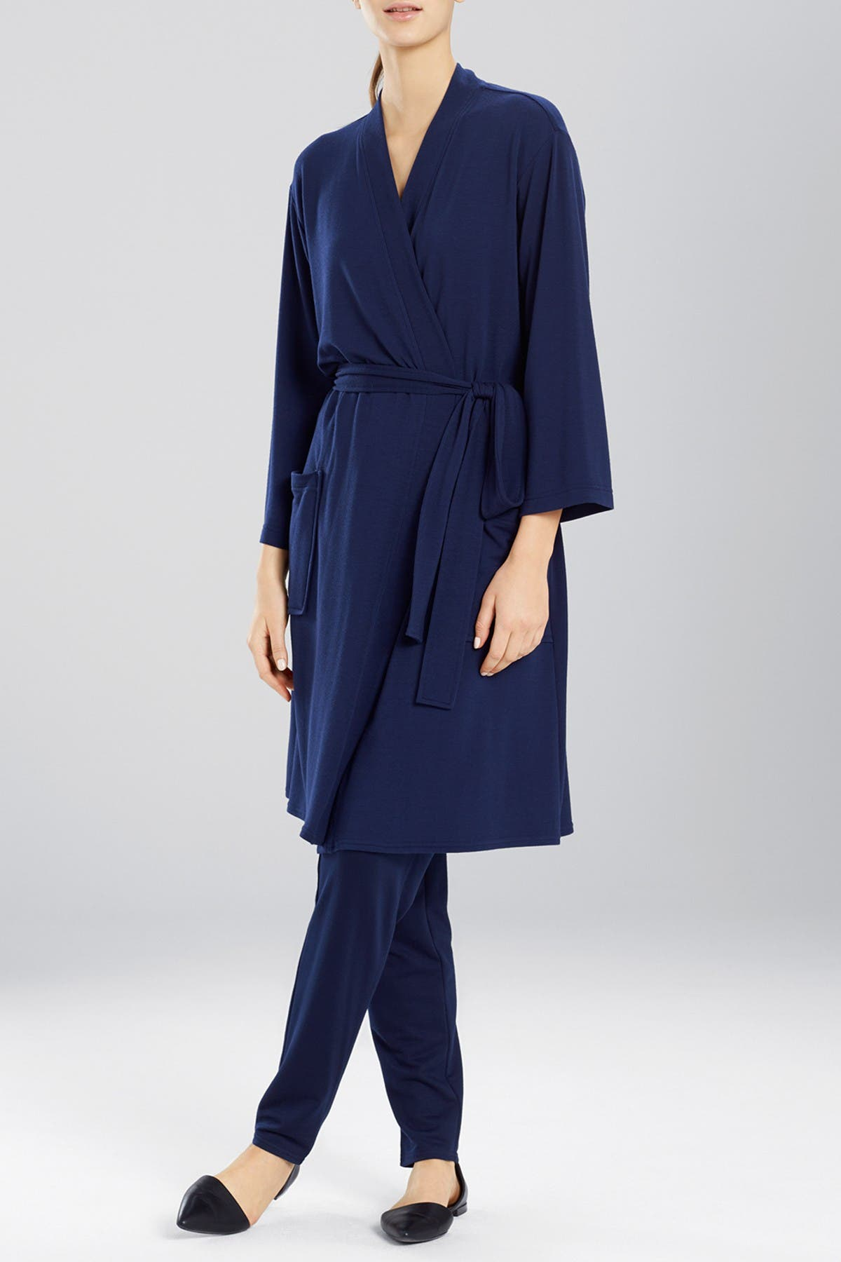 Image of N Natori Solid Long Sleeve Robe