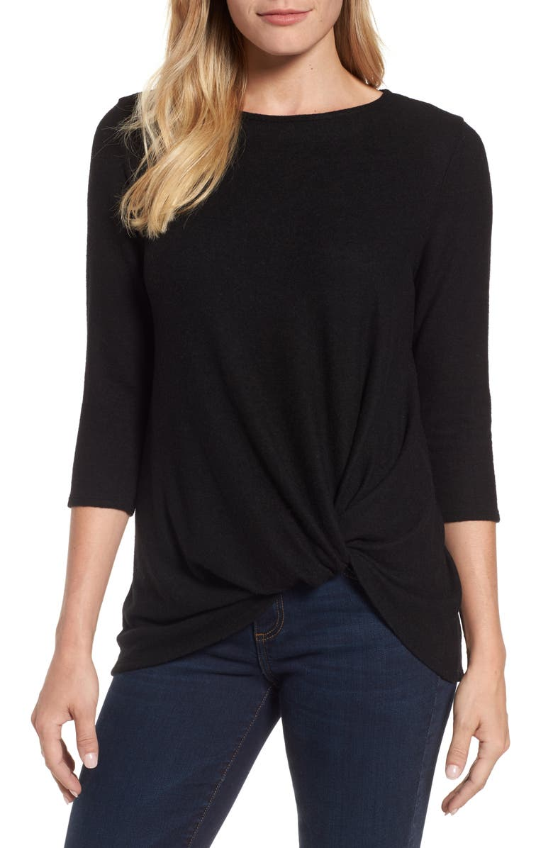 GIBSON Twist Front Fleece Top, Main, color, BLACK