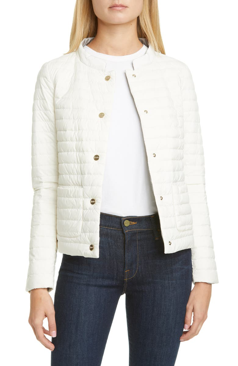 HERNO Reversible Water Repellent Down Puffer Jacket, Main, color, WHITE/ SILVER