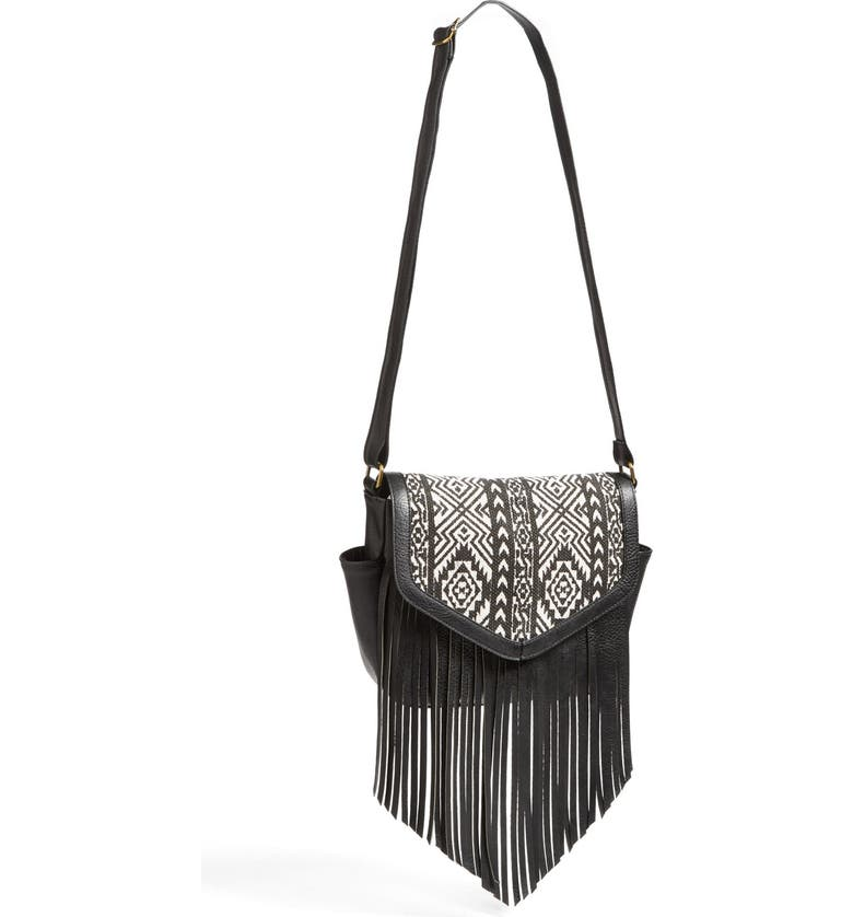 LULU Print Fringe Crossbody Bag, Main, color, 001