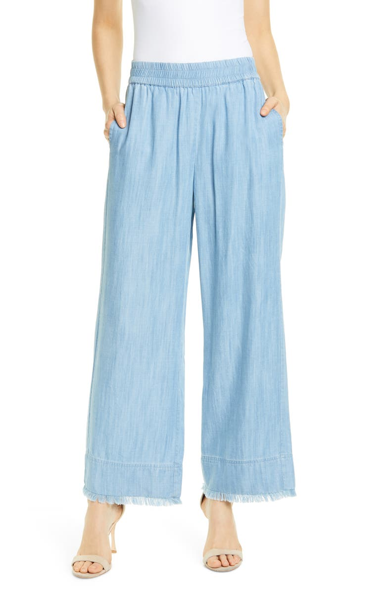 ALICE + OLIVIA Benny Frayed Ankle Wide Leg Pants, Main, color, 400