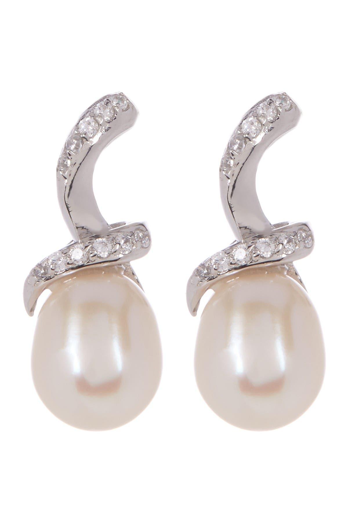 Image of Splendid Pearls Fancy Dangling 7.5-8mm Cultured Freshwater Pearl Earrings