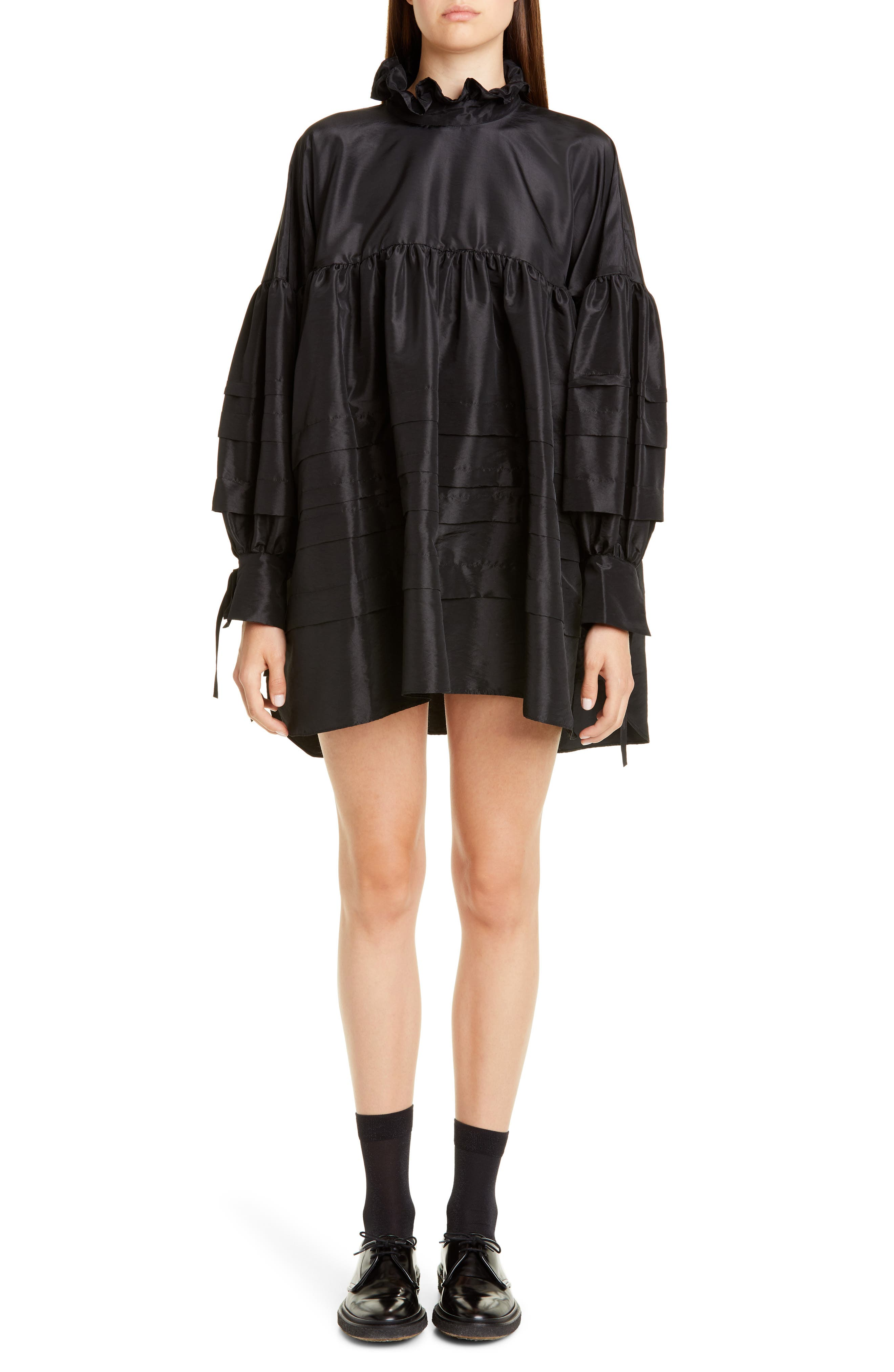 Cecilie Bahnsen Alberte Pleated Long Sleeve Taffeta Tunic Dress, US / 12 UK - Black