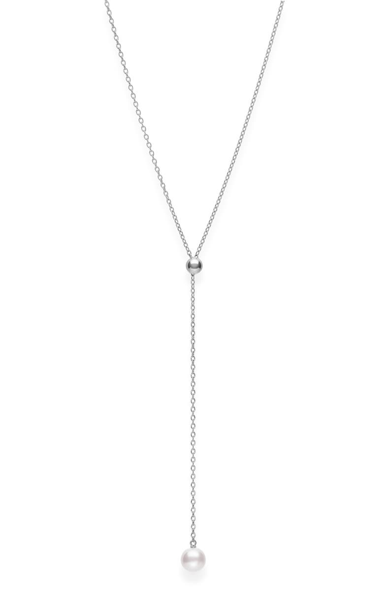 MIKIMOTO Japan Collections Pearl Lariat Necklace, Main, color, WHITE GOLD/ PEARL