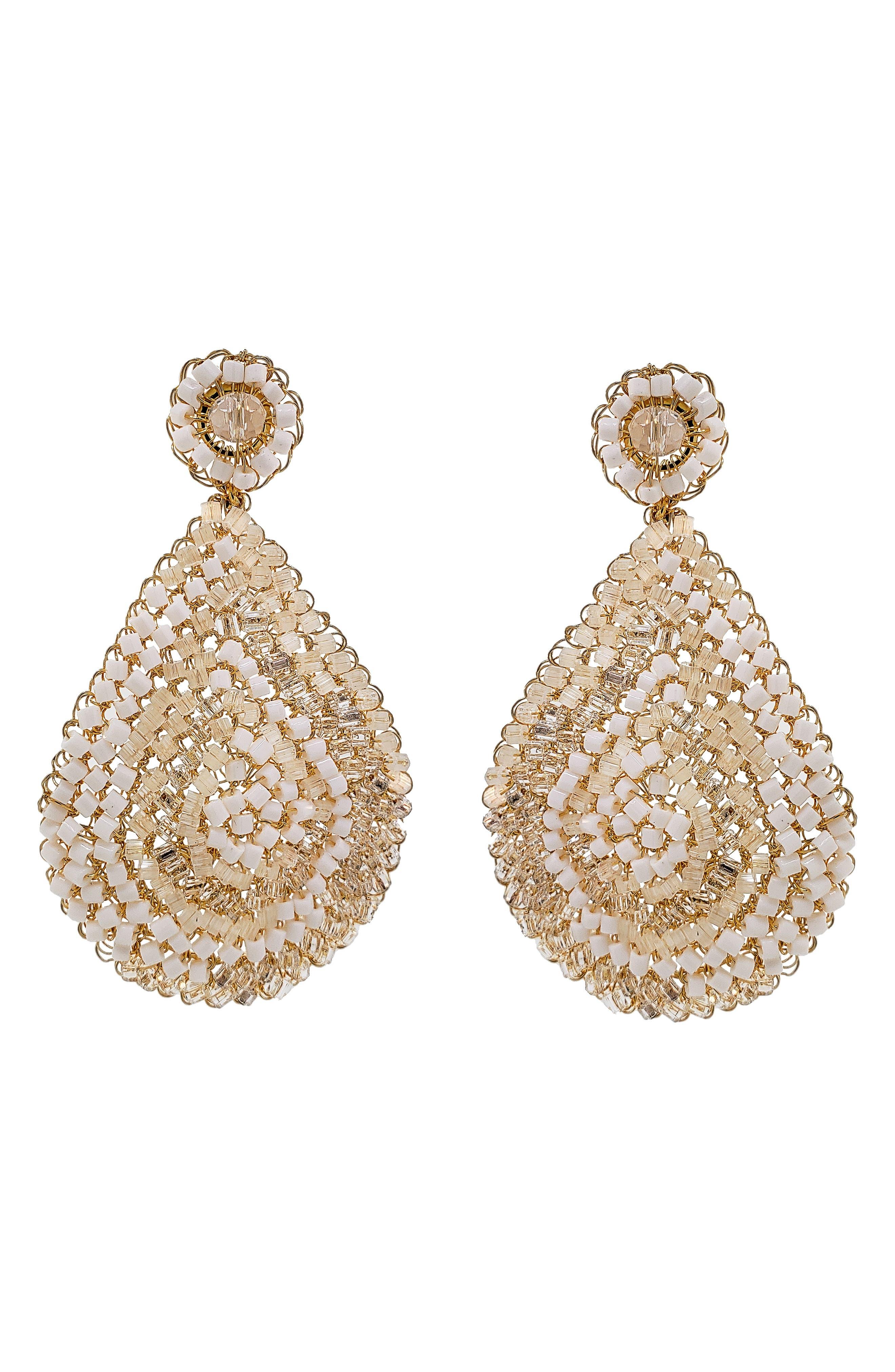 Women's Lavish Beaded Teardrop Earrings