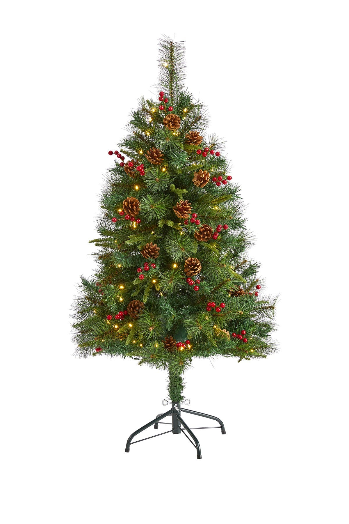 Image of NEARLY NATURAL 4ft. Mixed Pine Artificial Christmas Tree with 100 Clear LED Lights, Pine Cones and Berries