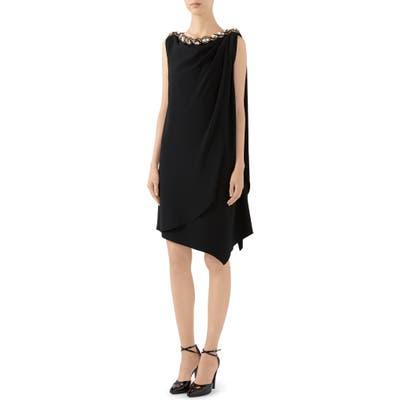 Gucci Crystal Embellished Draped Jersey Shift Dress, Black