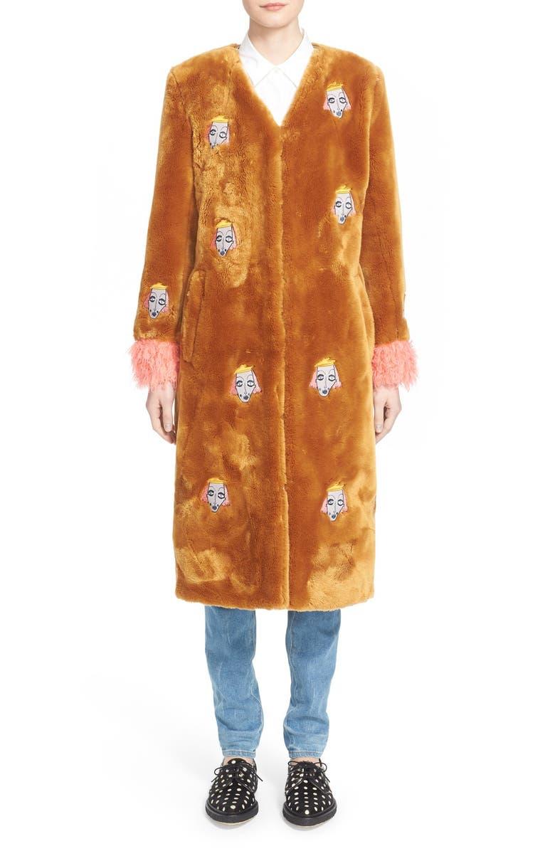 SHRIMPS 'Frenchie' Faux Fur Coat with Patches, Main, color, 240