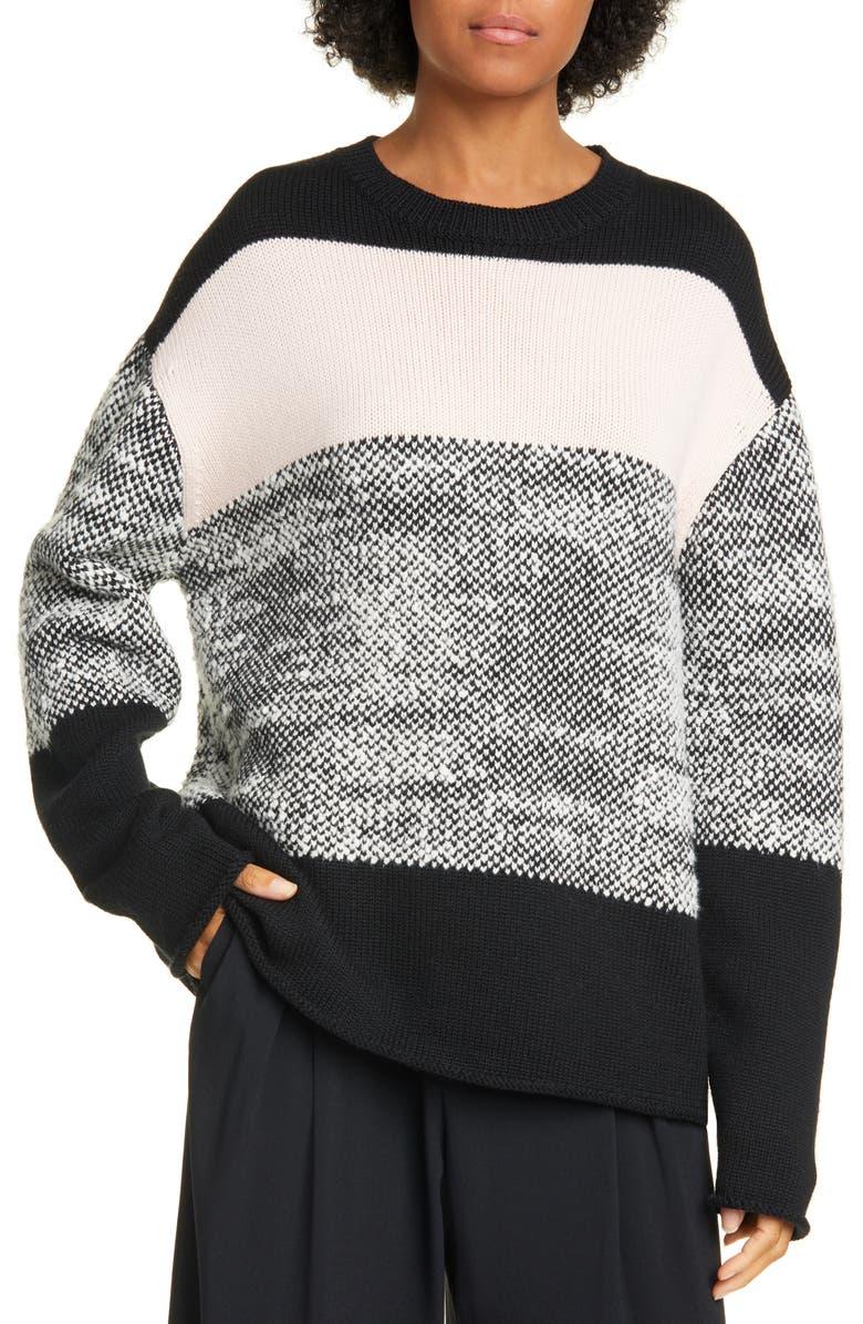 JASON WU Merino Wool Blend Sweater, Main, color, BLACK/ BLUSH/ EGGSHELL
