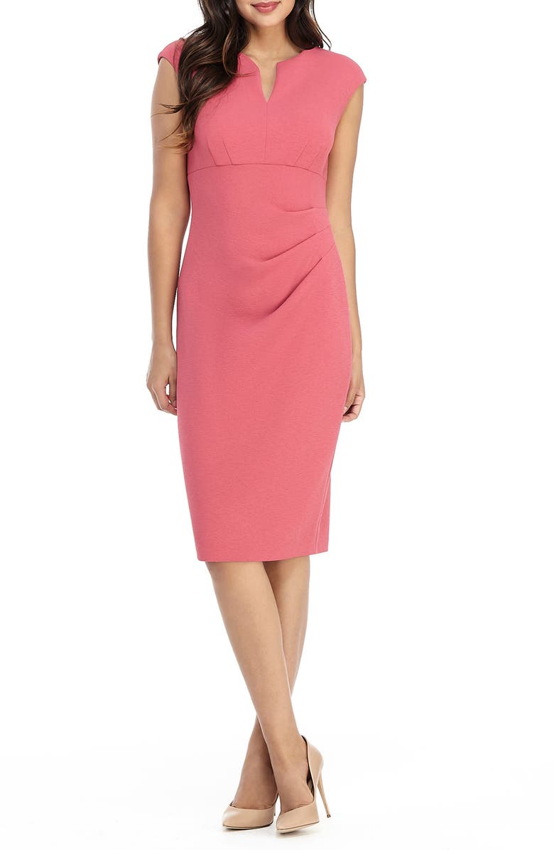 MAGGY LONDON Side Pleat Sheath Dress, Main, color, ROSETTE