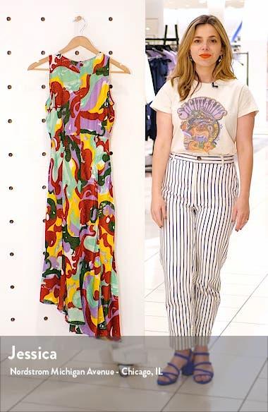 Pina Print Asymmetrical Midi Dress, sales video thumbnail