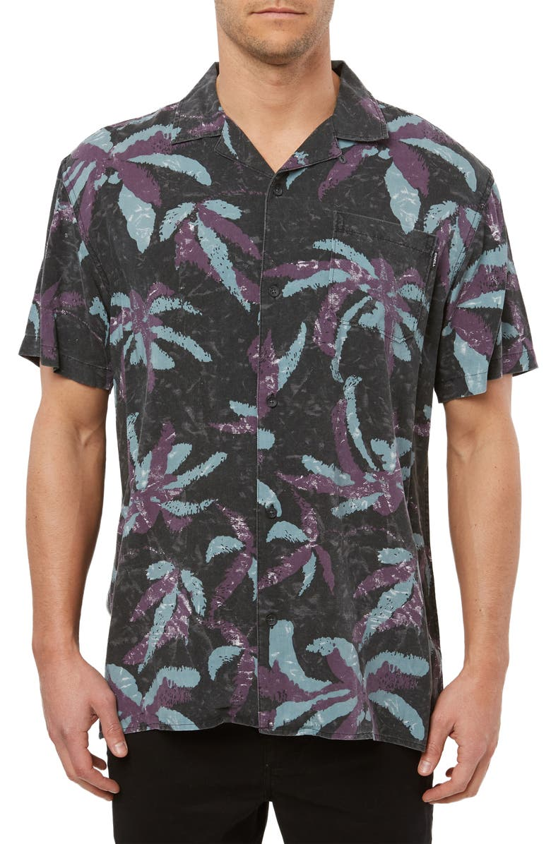 O'NEILL Spliit Palm Leaves Short Sleeve Button-Up Camp Shirt, Main, color, BLACK