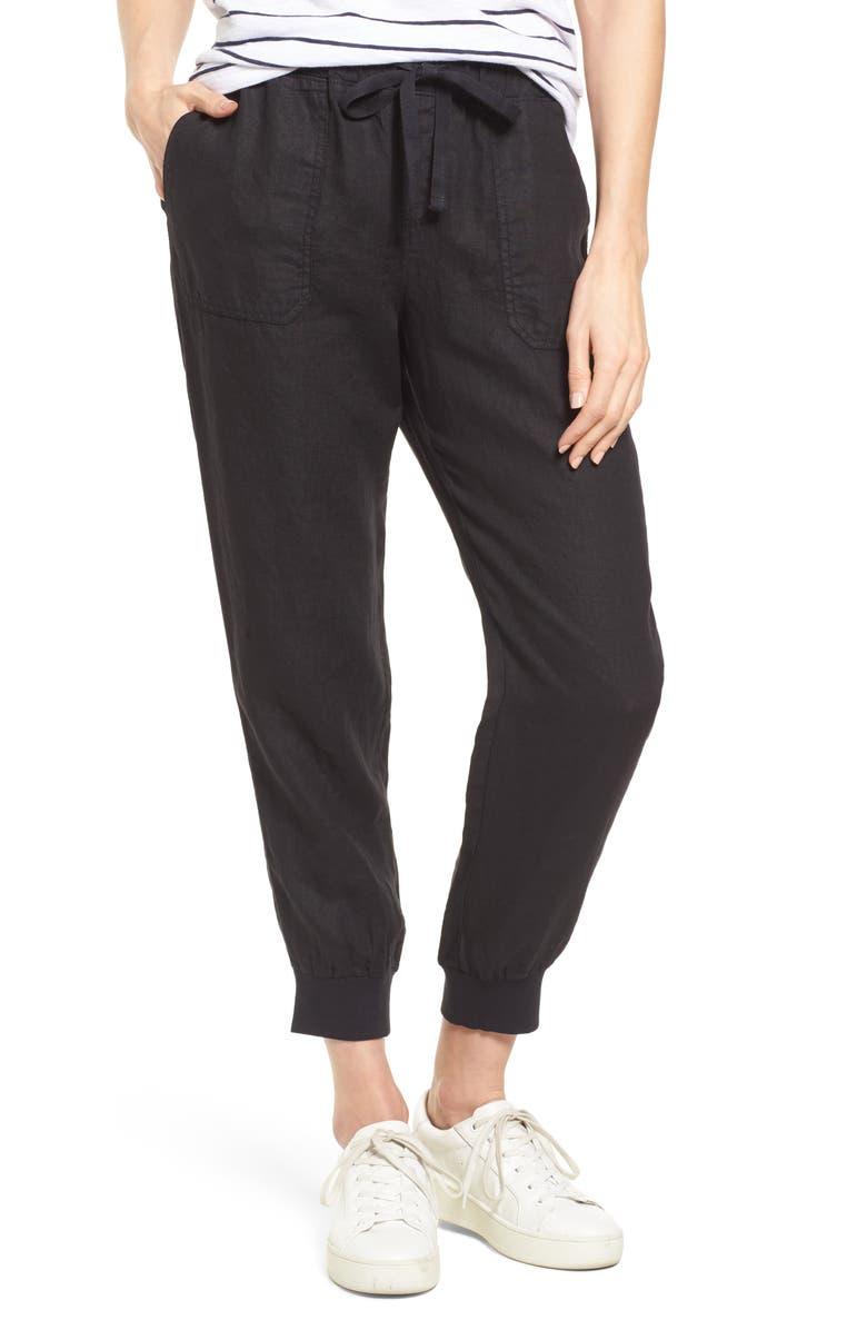 CASLON<SUP>®</SUP> Linen Joggers, Main, color, BLACK