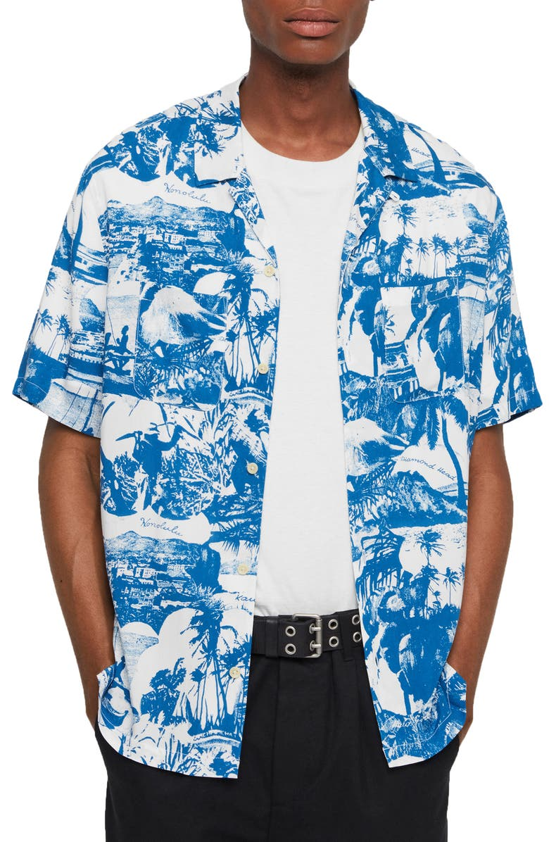 ALLSAINTS Awa Slim Fit Print Short Sleeve Button-Up Sport Shirt, Main, color, 166