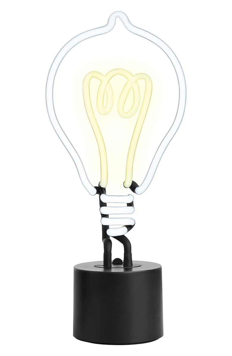 AMPED & CO Lightbulb Desk Neon Light, Main, color, 100