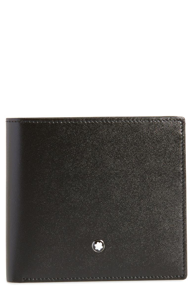MONTBLANC Meisterstück Leather Wallet, Main, color, BLACK