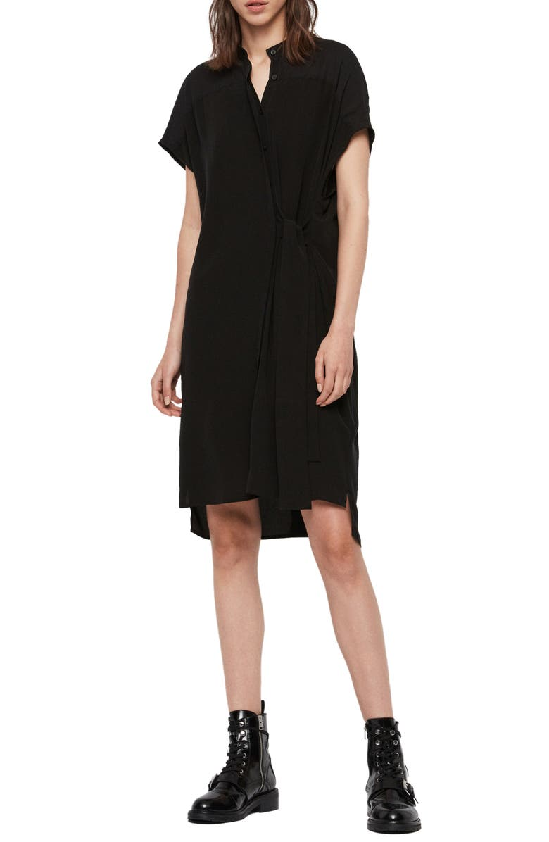 ALLSAINTS Willow Tie Waist Dress, Main, color, 001
