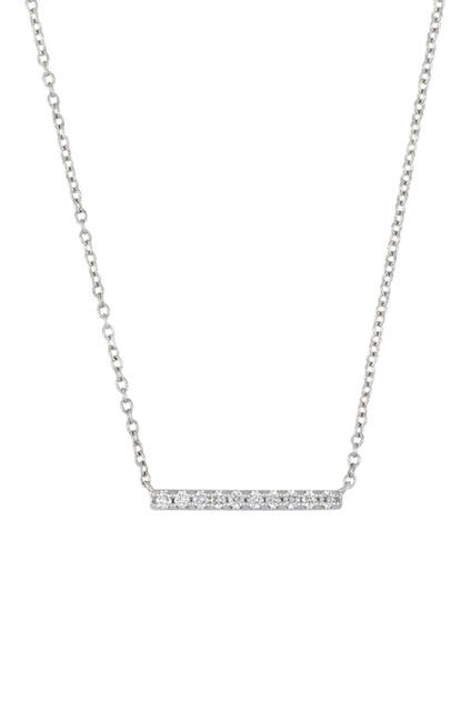 Image of Carriere Sterling Silver Diamond Bar Pendant Necklace - 0.10 ctw