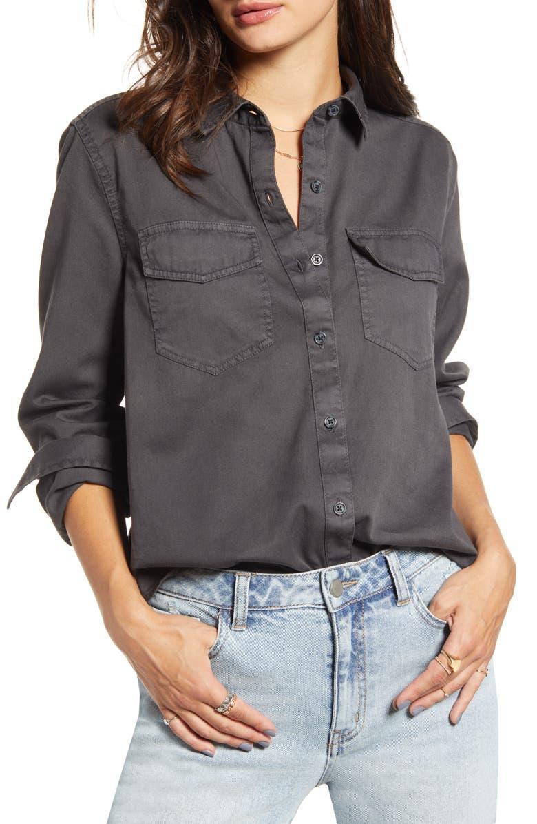 BP. Washed Chambray Shirt, Main, color, BLACK