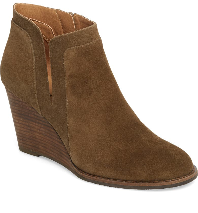 LUCKY BRAND Yabba Wedge Bootie, Main, color, OLIVE SUEDE