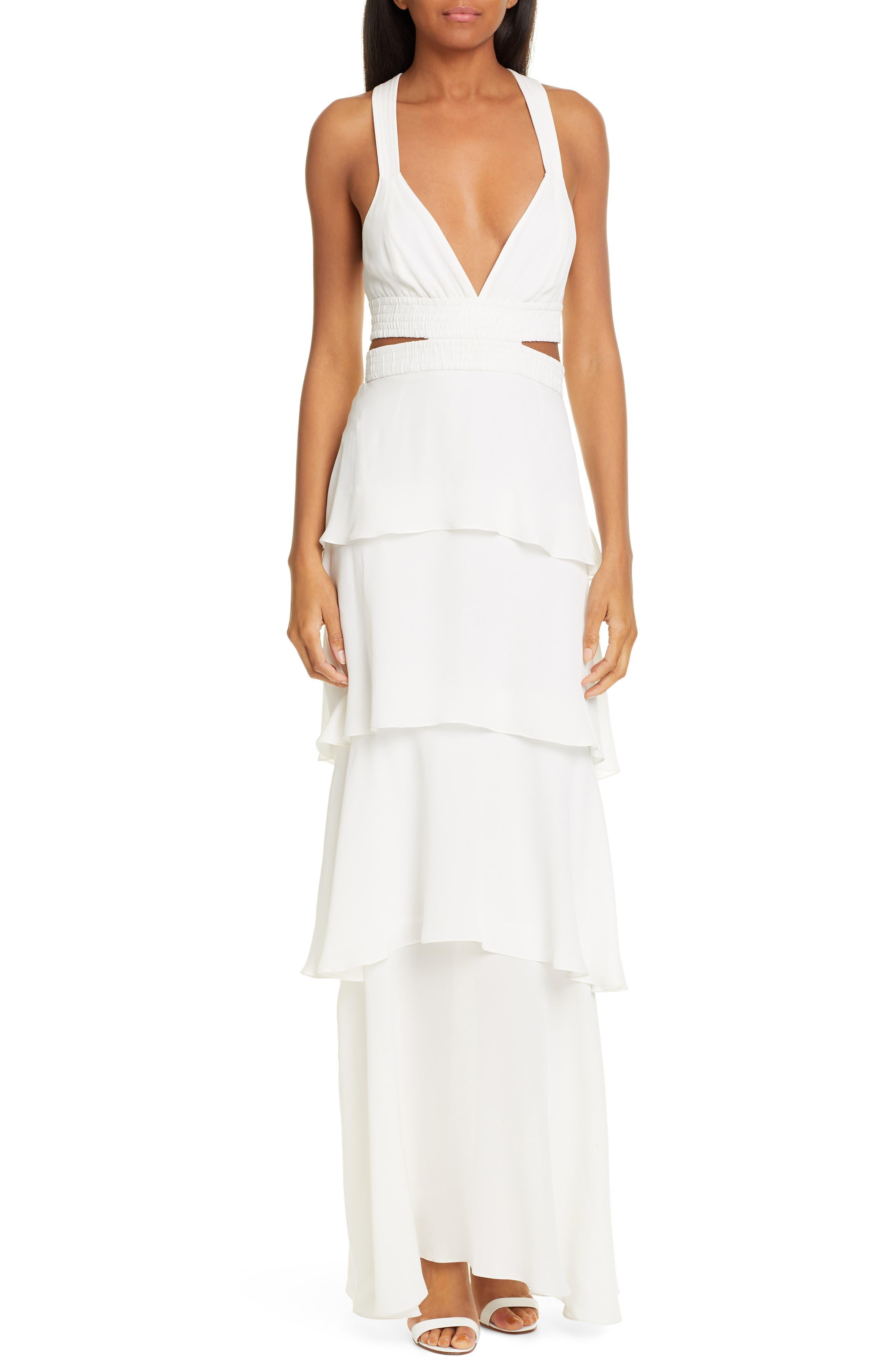 A.l.c. Lita Ruffle Silk Maxi Dress, Ivory