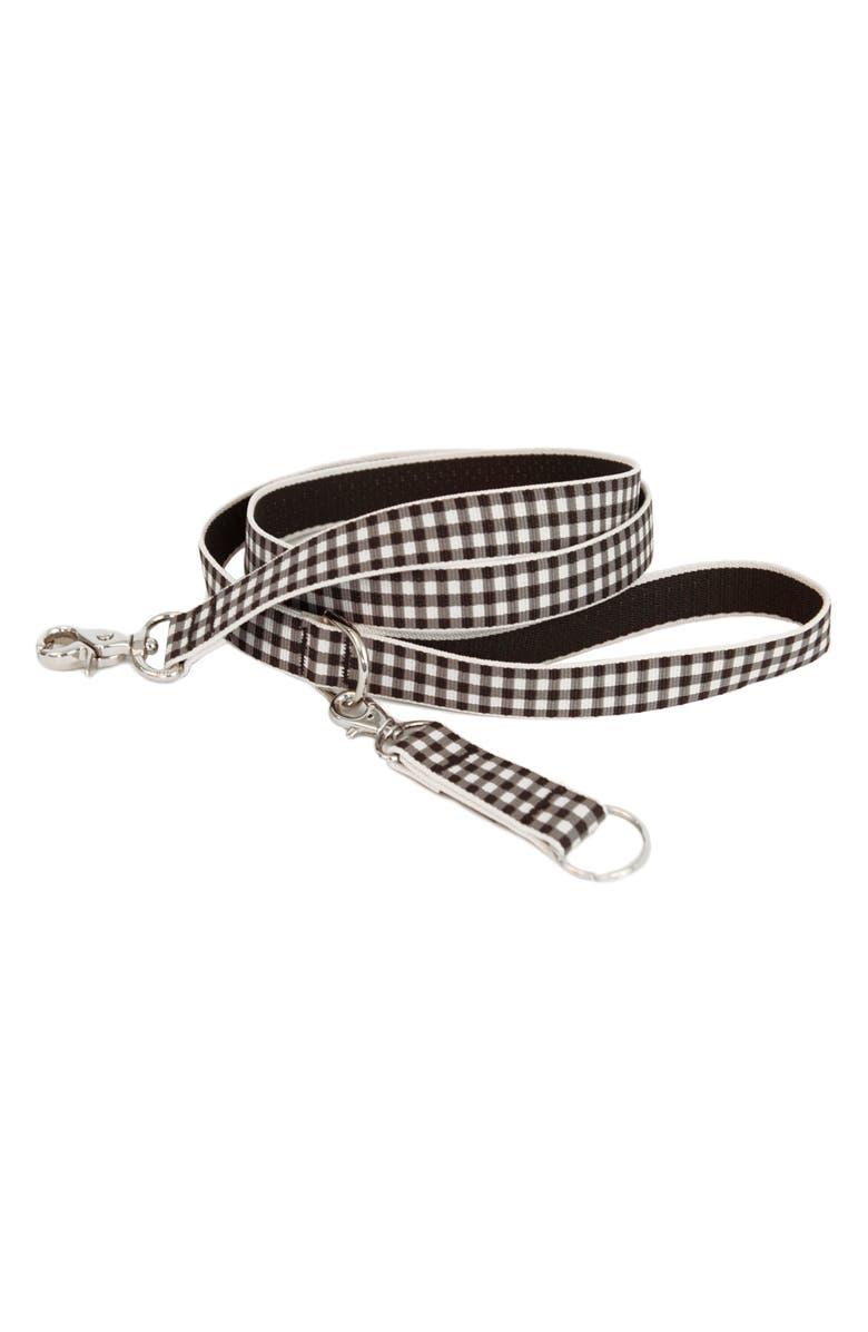HARRY BARKER Gingham Dog Leash, Main, color, BLACK