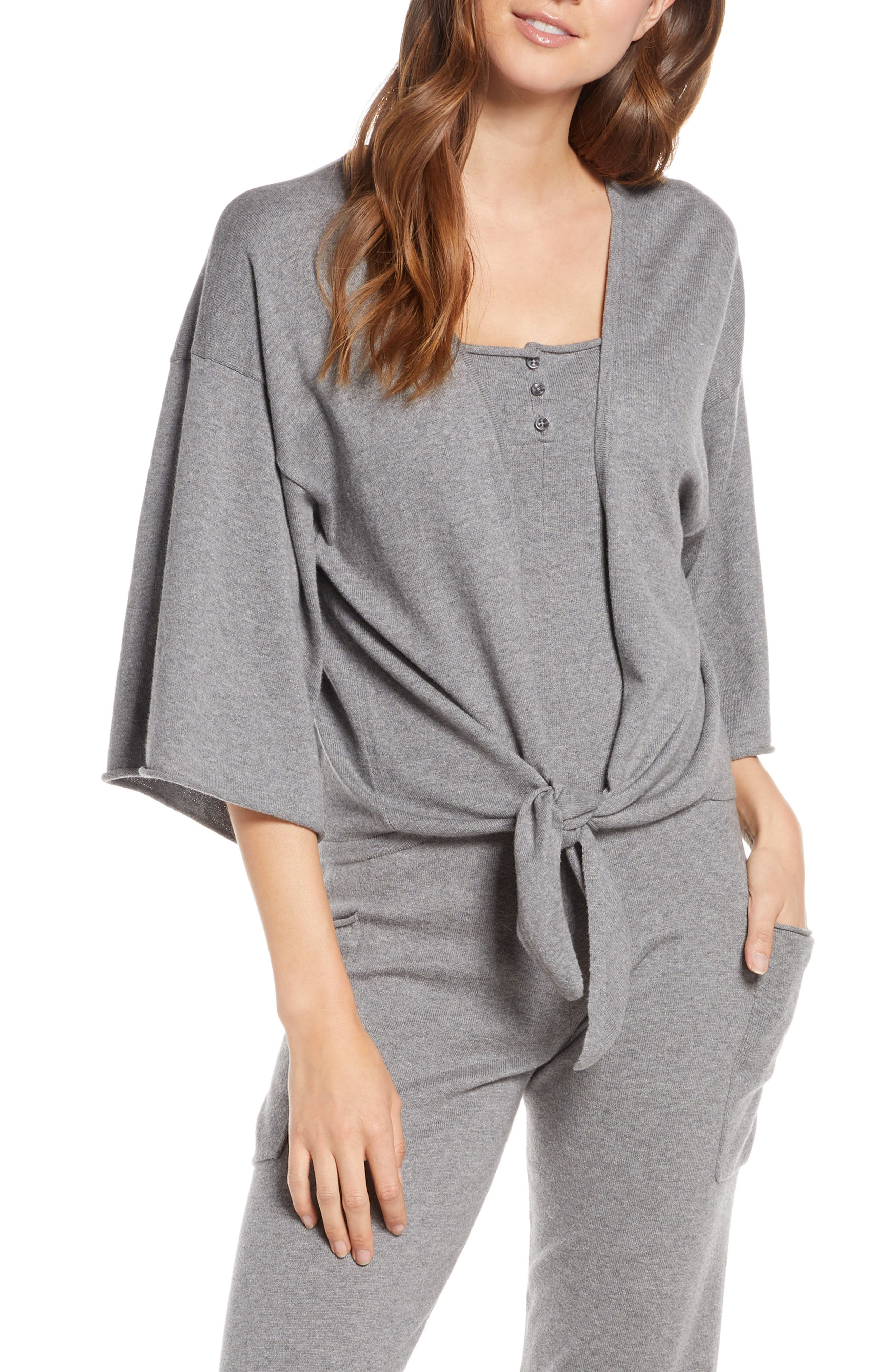 Something Navy Tie Front Wrap Sweater, Grey (Nordstrom Exclusive)