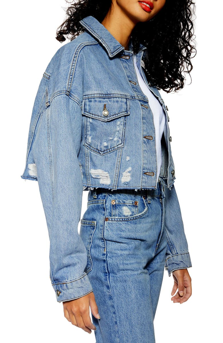 TOPSHOP Hacked Ripped Denim Jacket, Main, color, 420