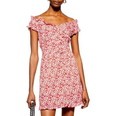 Topshop Ditsy Floral Minidress, US (fits like 0) - Red