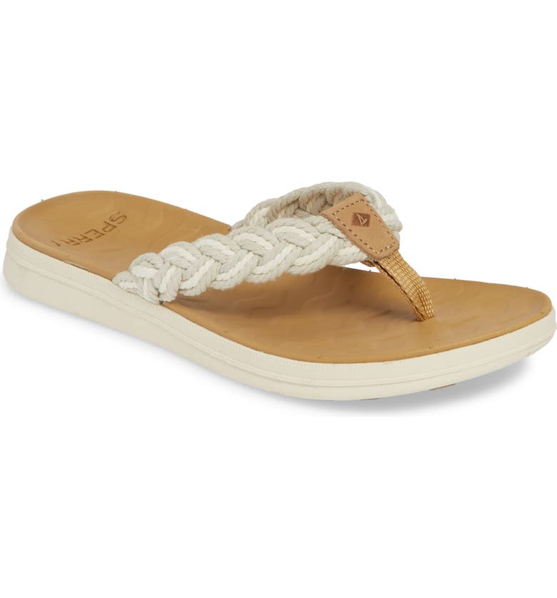 SPERRY Adriatic Braided Flip Flop, Main, color, LINEN/ NATURAL FABRIC