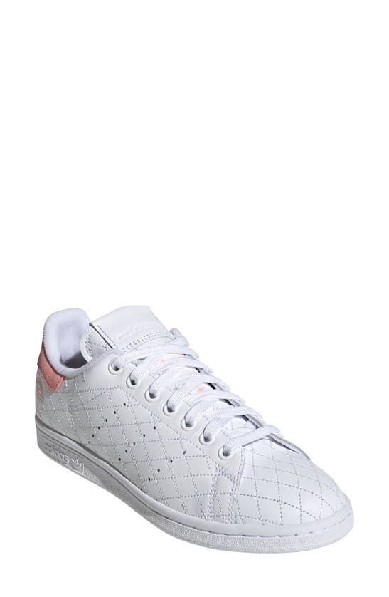 Adidas Originals Stan Smith Quilted Sneaker In White/ White/ Glory Pink
