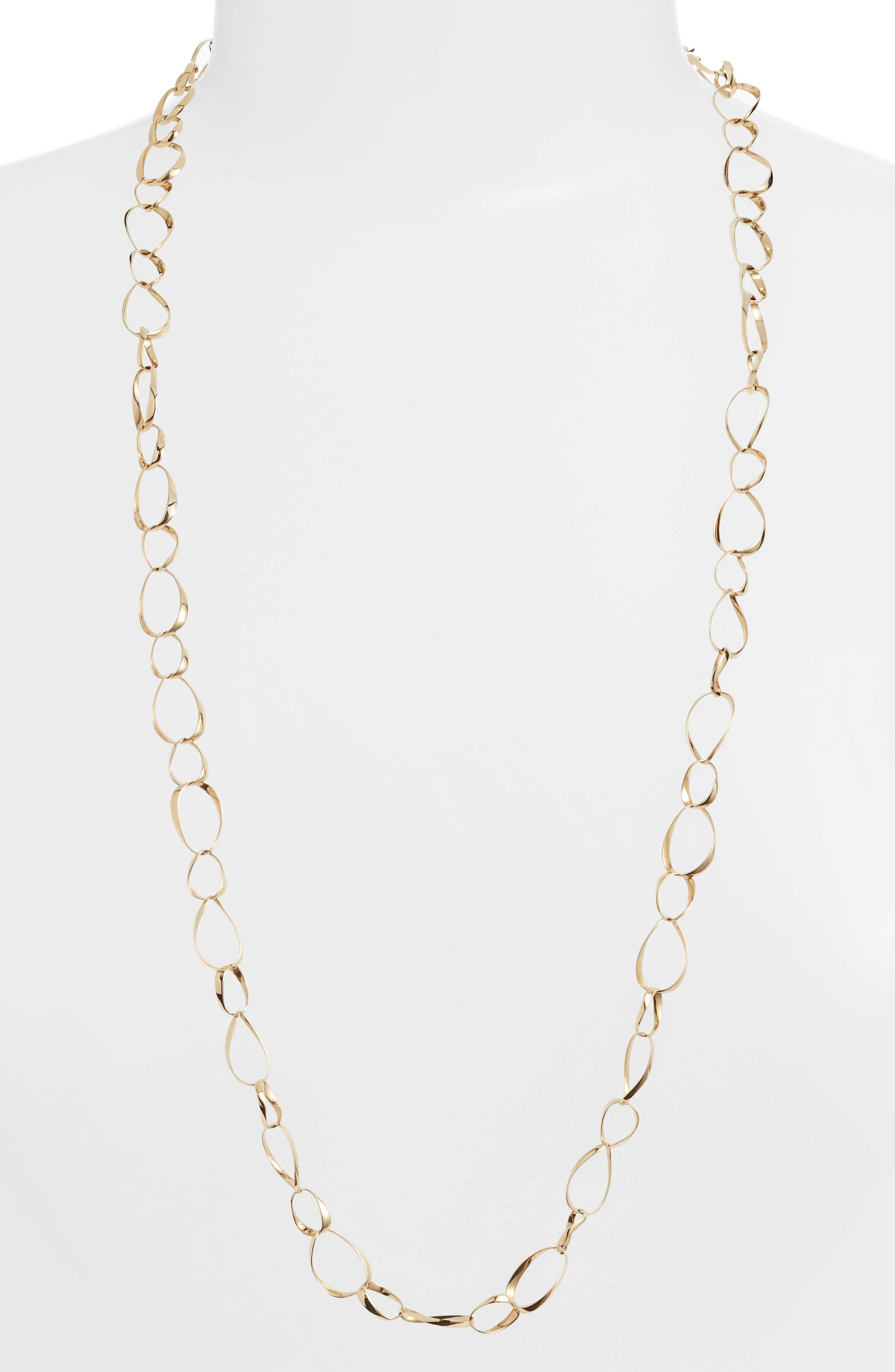 Artfully twisted links of 14-karat gold give this wardrobe-essential chain lovely sculptural interest. Style Name: Bony Levy Long 14K Gold Oval Link Necklace (Nordstrom Exclusive). Style Number: 5827658. Available in stores.