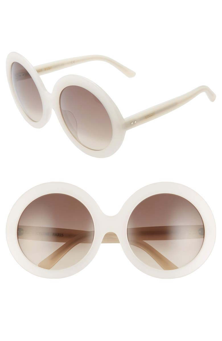 CELINE 61mm Round Sunglasses, Main, color, IVORY/ GRADIENT BROWN